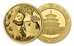 2021 China 3-gm Gold Panda Brilliant Uncirculated