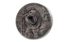 2020 Ivory Coast 5000 Francs 3-oz Silver Predators – Grizzly Bear Ultra High Relief Antiqued Gem BU