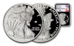 2020-W $1 1-oz Silver Eagle V75 NGC PF70UC First Day of Issue w/Black Core & Mercanti Signature