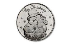 SilverTowne Mint 1-oz Silver 'Tis Christmas Snowman Round Gem BU