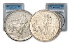 1925-P Stone Mountain Silver Half Dollar w/FS-101 2-pc Set PCGS MS64/MS65