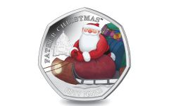 2020 BIOT 50 Pence 8-gm CuNi Father Christmas™ Colorized BU