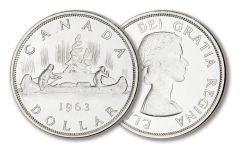 1960–1966 Canada Canoe Silver Dollar BU