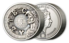 2021 Samoa $25 Kilo Silver Aztec Empire Multilayer Antiqued