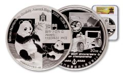 2020 China 30-oz Silver Macau Numismatic Society Expo Show Panda PF70UC First Day of Issue