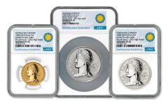 2020 Smithsonian Gold & Silver 1906 Barber Double Eagle Ultra High Relief Reverse Proof 3-pc Set NGC PF70UC
