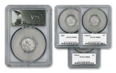 1943-PDS Lincoln Steel Cent 3-pc Set PCGS MS65 w/ V75 Label