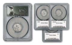 1943-PDS Lincoln Steel Cent 3-pc Set PCGS MS66 w/ V75 Label