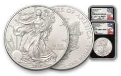 2020(S) $1 1-oz Silver Eagle Struck At San Francisco Emergency Production 2-pc Set NGC MS70 First Day of Issue w/Black Core & Mercanti & Jones Signatures
