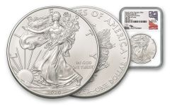 2020(S) $1 1-oz Silver Eagle Struck At San Francisco Emergency Production NGC MS70 First Day of Issue w/Black Core & Mercanti Signature