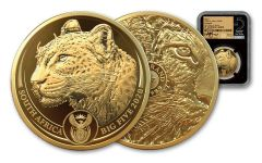 2020 South Africa 1-oz Gold Big 5 Leopard NGC PF70UC First Day of Issue w/Big 5 Label & Tumi Signature