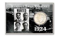 1924-P Peace Silver Dollar Rondout Train Robbery BU