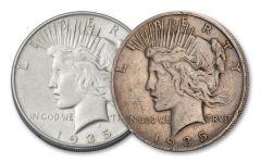 1935-P & S Peace Silver Dollar 2-pc Set VF–XF