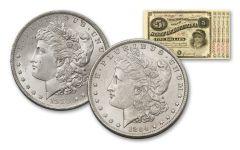 1883–1884-O Morgan Silver Dollars BU & $5 State of Louisiana Baby Bond 3-pc Set