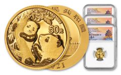 2021 China 3-gm Gold Panda 3-pc Set NGC MS70 First Releases 3-Mint Set w/Signed Labels