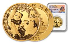 2021 China 30-gm Gold Panda NGC MS70 First Day of Issue Struck at Shenzhen Mint w/Signed Label