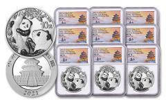 2021 China 30-gm Silver Panda NGC MS70 First Releases 3-pc Mint Set w/Tong Fang Signature 3-Pack