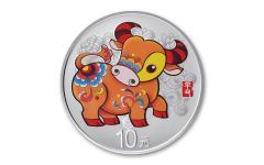 2021 China 30-gm Silver Year of the Ox Colorized Proof