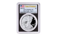2021-W $1 1-oz American Silver Eagle Type 1 Proof PCGS PR69UC First Strike w/ Black Frame & Flag Label