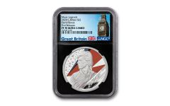 2020 Great Britain £2 1-oz Silver Legends of Music: David Bowie Proof NGC PF70UC First Releases w/Black Core