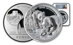 2000–2020 Smithsonian® 20-oz Silver National Zoo 20th Anniversary Panda Proof NGC PF70UC First Day of Issue