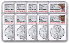 10-PACK 2021(S) $1 1-OZ SILVER EAGLE TYPE 1