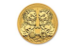 2021 Australia $100 1-oz Gold Forbidden City Double Pixiu Lions BU