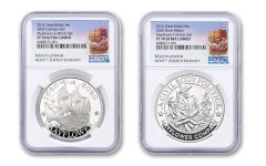 2020 Great Britain/U.S. 1-oz Silver Mayflower 400th Anniversary Proof 2-pc Set NGC PF70