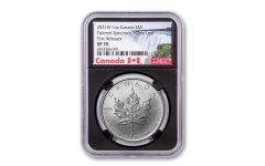 2021-W Canada $5 1-oz Silver Maple Leaf Tailored Specimen NGC SP70 First Releases w/Black Core & Canada Label