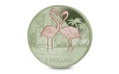 BVI 2021 $5 10 gram Titanium Flamingo Brilliant Uncirculated