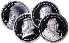 2020 Cook Islands 25₵ Clad Lost States of America 4-pc Proof Set