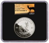 2021 South Africa 2-oz Silver Krugerrand Proof NGC PF70UC FDI Releases w/Springbok Label
