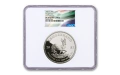 2021 South Africa 2-oz Silver Krugerrand Proof NGC PF70UC First Releases w/SA Flag Label WC