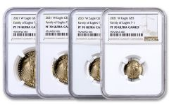 4pc 2021-W Gold American Eagle Proof T-1 Coin Set NGC PF70UC Brown Label