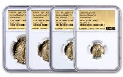 4pc 2021-W Gold American Eagle Proof T-1 Coin Set NGC PF70UC First Releases Exclusive Gold Foil Label