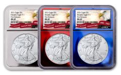 2021 $1 1-oz Silver Eagle Type 1 NGC MS69 First Releases 3-pc set w/Red, Silver & Blue Foil Display Cores & Eagle Banner Labels