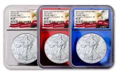 2021(S) $1 1-oz Silver Eagle Type 1 NGC MS69 First Releases 3-pc set w/Red, Silver & Blue Foil Display Cores & Eagle Banner Labels
