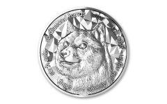 2021 Blockchain Mint 1-oz Silver Dogecoin Cryptocurrency Medal Gem BU