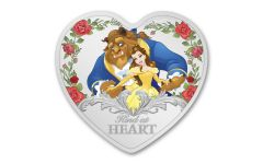2021 Niue $2 1-oz Silver Disney Beauty and the Beast Colorized Heart-Shaped Gem Proof