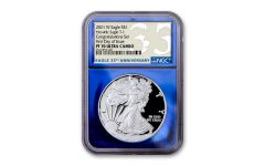 """2021-W $1 1-oz Silver American Eagle Type 1 """"Congratulations Set"""" Proof NGC PF70UC First Day of Issue w/Blue Foil Core & 35th Anniversary Label"""
