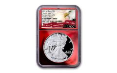 """2021-W $1 1-oz Silver American Eagle Type 1 """"Congratulations Set"""" Proof NGC PF70UC First Day of Issue w/Red Foil Core & Eagle & Banner Label"""