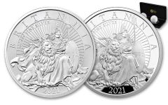 2021 Great Britain £2 1-oz Silver Britannia Proof & Reverse Proof 2-pc Set