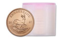 Roll of 10- 2021 South Africa 1 oz Gold Krugerrand GEM BU