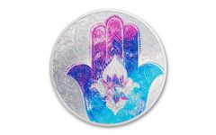 Palau 2021 Hand of Hamsa 1 oz Silver Colorized Proof $5 Coin GEM Proof OGP