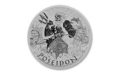 2021 Tuvalu $1 1-oz Silver Gods of Olympus Poseidon BU