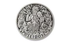 2021 Tuvalu $1 1-oz Silver Gods of Olympus Poseidon Antiqued