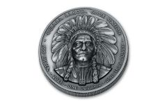 2021 Oglala Sioux $1 1-oz Silver Sitting Bull Ultra High Relief Antiqued Coin