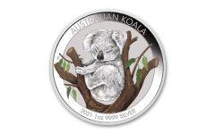 2021 Australia $1 1-oz Silver Brisbane Show Koala Colorized Unc
