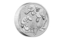 2021 Australia $2 2-oz Silver Mother & Baby Platypus Piedfort BU