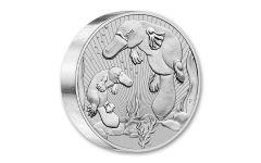 2021 Australia $10 10-oz Silver Mother & Baby Platypus Piedfort BU